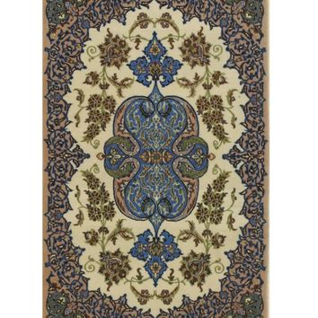 EORC Hand-knotted Wool & Silk Ivory Traditional Oriental Isfahan Rug