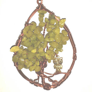 Tree of Life Suncatcher, Tree-of-Life Decor, Green Quartzite Sun Catcher, Gemstone Beads, Bohemian, Ornament