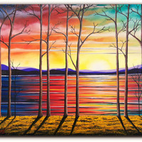 Original Treescape Oil Painting, Contemporary Art, Large Wall Art, Abstract Trees Landscape Painting, Sunset Forest, Bare Trees, 16 x 20