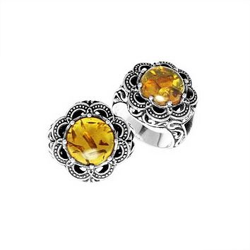 "AR-6139-AB-8"" Sterling Silver Ring With Amber"