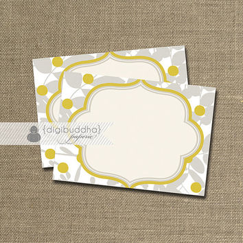 Labels INSTANT DOWNLOAD Shabby Chic Yellow & Gray Candy Buffet Mailing Tags Printable Stickers DIY - Meredith Collection