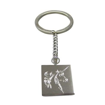 Silver Toned Etched Unicorn Head Pendant Keychain