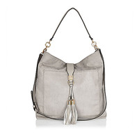 Grey tassel oversized slouchy handbag - shoulder bags - bags / purses - women