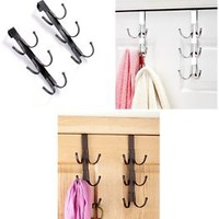 Set of 2 Over the Door 6 Hook Organizer Metal Bath Closet Hanger - Color Choice