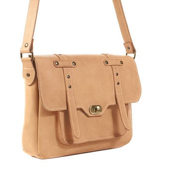 Beige leather crossbody bag / Leather messenger bag / Undyed  leather shoulder bag / Women leather bag/ Small shoulder bag