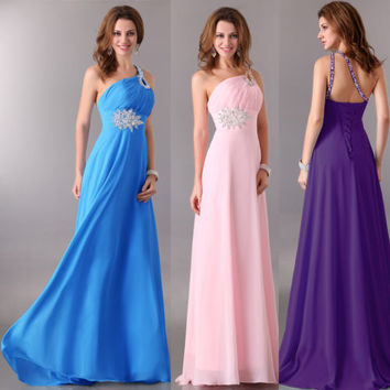 STOCK Chiffon Bridesmaid Evening Formal Gown Cocktail Prom Party Long Dresses