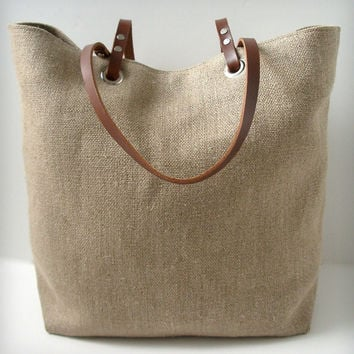 Linen and Leather Tote Bag - Woven