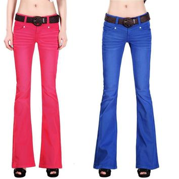 2015 new women casual flare jeans Candy color softener denim trousers tight wide leg L