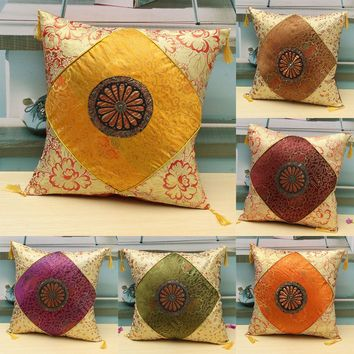 40x40cm Embroidered Vintage Pillow Cover Sofa Home Decor Throw Square Cushion Cover Pillowcase