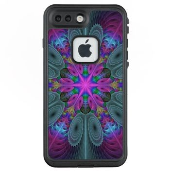 Mandala From Center Colorful Fractal Art With Pink LifeProof® FRĒ® iPhone 7 Plus Case
