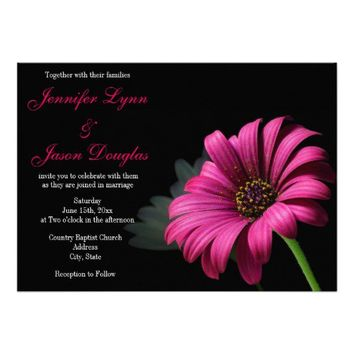 Hot Pink Gerber Daisy Flower Wedding Invitations from Zazzle.com
