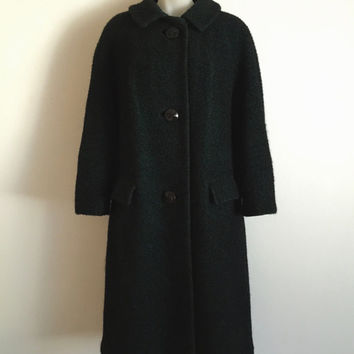Vintage 1950s black and green wool bouclé three button overcoat with front flap pockets
