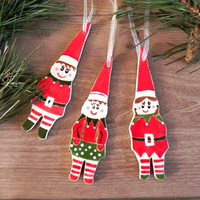 Christmas Elf Ornaments Ceramic Christmas Tree Ornament Winter Home Decoration Gift Set of 3