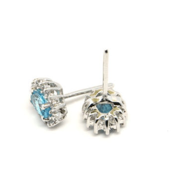 Blue Topaz and Sterling Silver Stud Earrings, Blue Topaz and Cubic Zirconia Earrings, Fine Blue Topaz Jewelry, December Birthstone Earrings