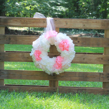 Pink White and Tulle Paper Wreath