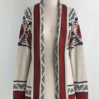 Folk Art Long Long Sleeve Red Rock Canyon Cardigan in Rust