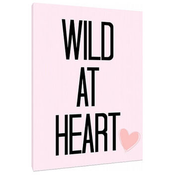 Wild at Heart - Custom Art Print - Pink and black art - Home Decor - wall art - black and white love art - fashion - hipster canvas art