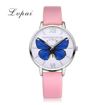 2016 Hot Sale Lvpai Luxury Brand Women Bracelet Watch Leather Butterfly Quartz WristWatches Women Dress Watches Christmas Gift