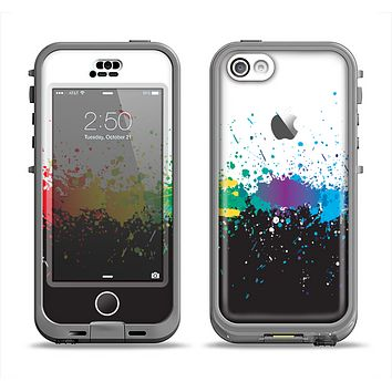 The Rainbow Paint Spatter Apple iPhone 5c LifeProof Nuud Case Skin Set