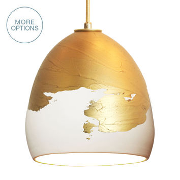"Porcelain Matte & Ombre Brass 8"" Clay Pendant Light"