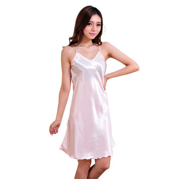 New Arrival Sexy Lingerie Women Girl Silk Robe Dress Babydoll Nightdress Nightgown Sleepwear