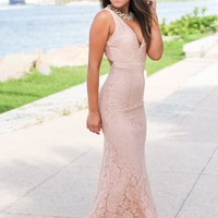 Blush Lace Maxi Dress with Open Back
