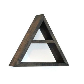 Geometric Shelf Shadow Box Shelf Abstract Triangle Design II Handmade Wooden Modern Minimalist Rustic Primitive Wall Decor Triangular Shelf