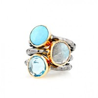 Turquoise, Labradorite, and Blue Quartz Mixed Metal Stacking Ring Set
