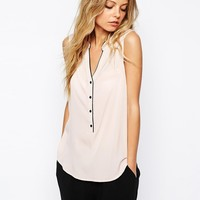 J.D.Y Button Front Sleeveless Blouse