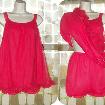 Vintage 60s Red Frilly Chiffon Babydoll Nightgown & Panty Lingerie Top Panties Set M/L/XL