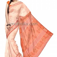 UNM7457-Blissful corporate cream Assam handloom cotton tant sari