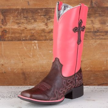 Ariat Ladies' Neon Pink Cross Roads Boots - Horseman - Women's - Boots