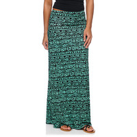 Empyre Black & Mint Tribal Print Maxi Skirt at Zumiez : PDP