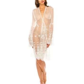 Mesh & Embroidery Robes 100% Polyester