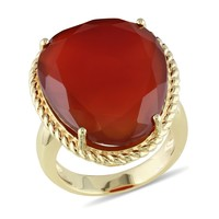17 1/7 Carat Red Onyx Fashion Ring in Sterling Silver
