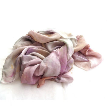 Pastel long SILK SCARF spring dyed silk ombre sharong luxury gift for women, Early Mother's Day Ideas, Gift for Guests