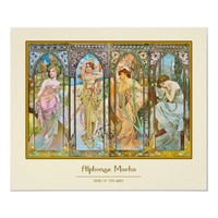 Time of the Day, Alphonse Mucha Poster from Zazzle.com