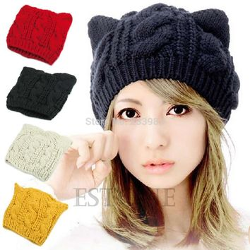 Free Shipping Winter Beanie Devil Horns Cat Ear Crochet Braided Knit Women Ski Wool Cap Hat
