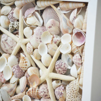 Starfish Wall Decor, Sea Shell Wall Art, Beach Shadow Box