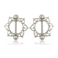 LNRRABC Hot 1 Pair Unisex Personality Alloy Heart/Wing/ Flower Barbell Nipple Ring Body Piercing Jewelry Gift Sunflower