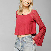 Ecote Bell-Sleeve Cropped Top - Urban Outfitters
