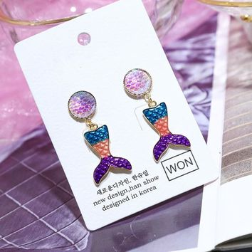 Colorful Drop Earring The Little Mermaid Glitter Tail Dangle Earrings,Fish Scales Earrings