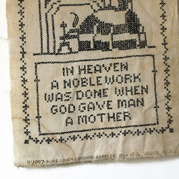 Vintage Mother's Poem Cross Stitch Sampler, Vogue Linen Sampler, Colonial Revival Sampler
