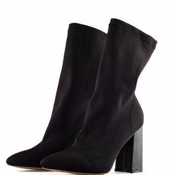 Spandex Sock Ankle Boots with Chunky Heel