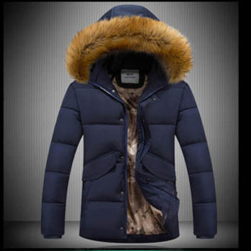 Men Coat Parkas Jacket Men's Casual Slim Fit Large Size Cotton Down Coat Thickening Cotton Down Coat Men BL