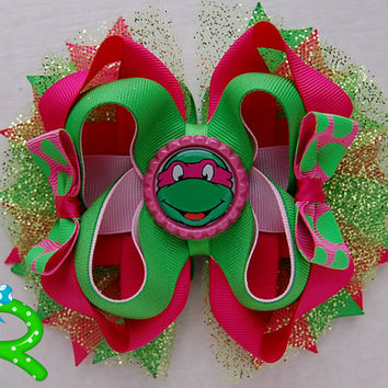 Ninja turtles Hair Bow, tmnt girly pink  boutique bow , TMNT Staked Hair Bow  TMNT pink bow