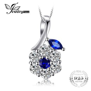 JewelryPalace Fashion 0.73 ct Created Blue Spinel Flower Pendants For Women 925 Sterling Silver Fine Jewelry Not Include A Chain