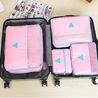 4 sets travel Organizers Packing Cubes Luggage Organizers (Light Blue)