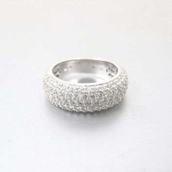 Sterling CZ Eternity Band Ring. Pave Cubic Zirconia Diamond Cigar Band Ring. Wedding Anniversary CZ Ring.