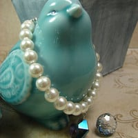 PEARL CAT COLLAR and Crystal Bauble with Magnetic Safety Clasp for Your Wedding Day or Other Special Occasion
